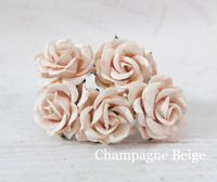 5pcs Champagne Beige  - Mulberry Paper Roses - 35mm 3.5cm