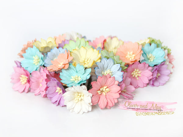 "Bulk 50 Pack - 1"" 2.5cm Daisy Mulberry Paper Flowers -  Soft Pastel Daisies"