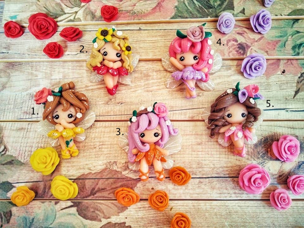 Dancing Flower Fairies Bow Clay Ready to Ship