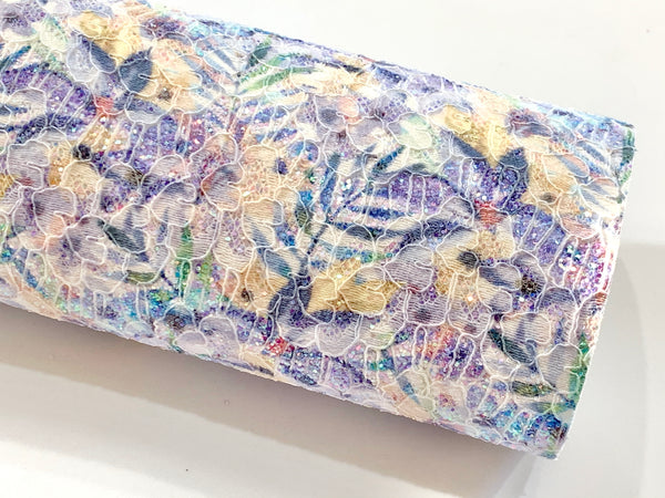 Summer Palm Floral Glitter Lace Fabric Sheet A4 - Glitter Lace Purple and Yellow