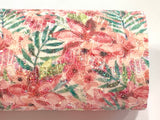 Summer Palm Floral Glitter Lace Fabric Sheet A4 - Glitter Lace Coral Pinks and Red