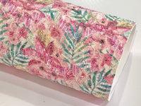 Summer Palm Floral Glitter Lace Fabric Sheet A4 - Glitter Lace Magenta Pink