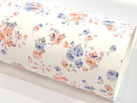 Cornflower Blue Floral Glitter Suede Fabric Sheet
