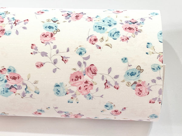 Aqua and Pink Floral Glitter Suede Fabric Sheet