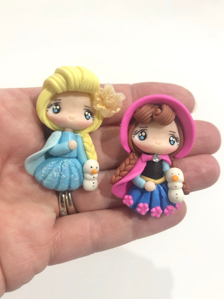Frozen Elsa and Anna Clay Embellishments