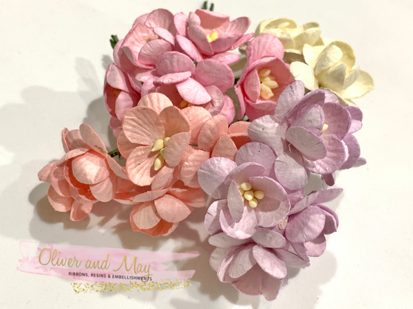 20 Pcs Mulberry Paper Flowers - 2cm Cherry Blossoms - Pink Lilac Mix