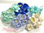 25 Pcs Mulberry Paper Flowers - 2cm Cherry Blossoms - Shades of Blue Mix