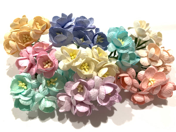 50 Pcs Mulberry Paper Flowers - 2cm Cherry Blossoms - Pastels