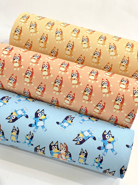 Smooth Bluey Dog Character 20x34cm Faux  Leather Sheet - Linen Finish