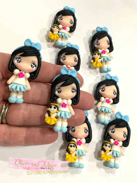 Girl with Plush Toy Embellishment Belle
