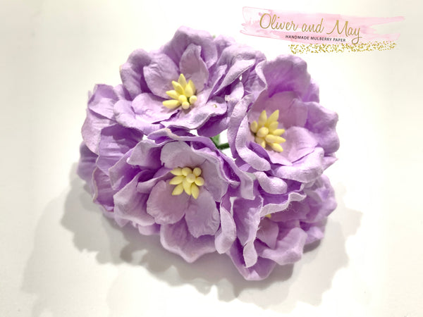 5pcs - Mulberry Paper Flowers - 4cm Magnolias - Pale Purple