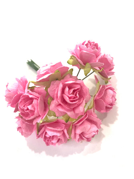 10 Pcs - Mulberry Paper Flowers - 2cm Tea Roses - Pink