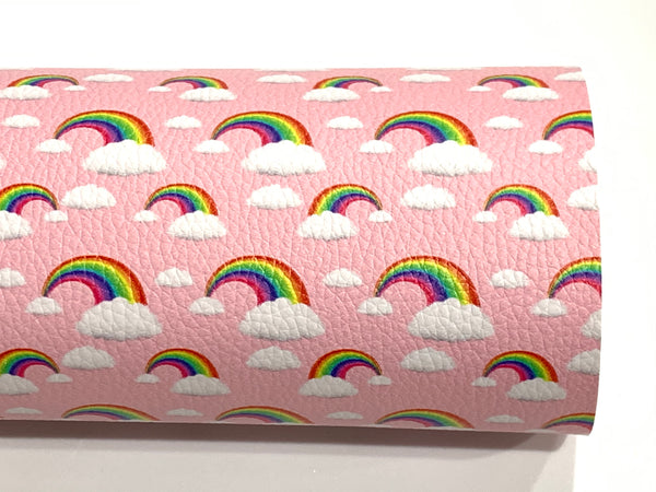 Pink Rainbows Faux Leatherette Sheet