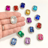 Rhinestone Flatback Embellishments 23 x 18mm - 14 COLOURS TO SELECT FROM