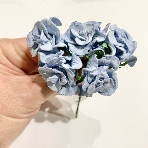 5 pcs Soft Blue  - Mulberry Paper Gardenia Buds - 30mm 3cm