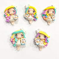 Rainbow Unicorn Girl Bow Clays