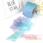 "Blue Stars Sequin Tulle 2.16"" 5.5cm x 5 Yard Lot"