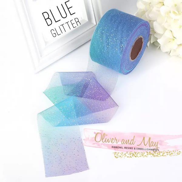 "Blue Rainbow Glitter Tulle 2.36"" 6cm x 5 Yard Lot"