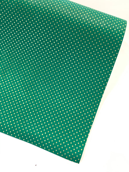 Green with Fine Gold Embossed Dots Faux Leatherette