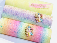 Rainbow Floral Glitter Lace Fabric Sheet