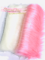 White and Pink Faux Fur Fabric Sheets