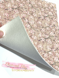 Blush Beige Floral Blossom Glitter Lace Fabric Sheet A4 - Glitter Lace
