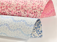 Liberty Mitsi Valeria Double Sided Glitter Lace - Candy Pink or Pretty Sky Blue