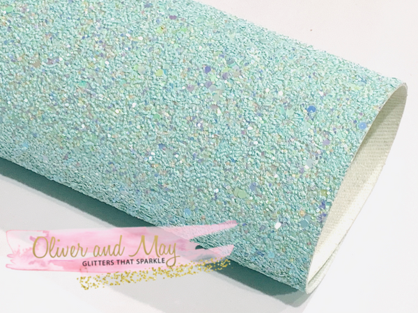 Pastel Blue Chunky Glitter Fabric 1.0mm Thickness Sheet A5 orA4 Size Glitter Fabric -  8X11 Glitter Sheet