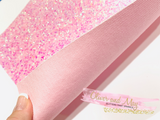 Pink Holographic Sequin Chunky Glitter Canvas