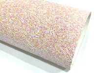 Pink Party Chunky Glitter Fabric Sheet - Pastel Pink with Multicolour Sprinkles