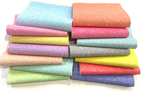 Premium Chunky Glitter Canvas Fabric Sheets - Choice of 14 Colours in A4 Sheets