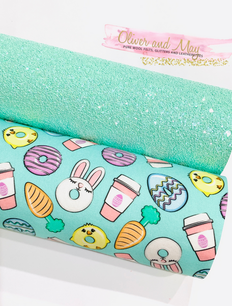 Easter Fabric Felt Glitter Duo A4 sheets - Mint Theme