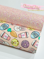 Easter Fabric Felt Glitter Duo A4 sheets - Pink Theme