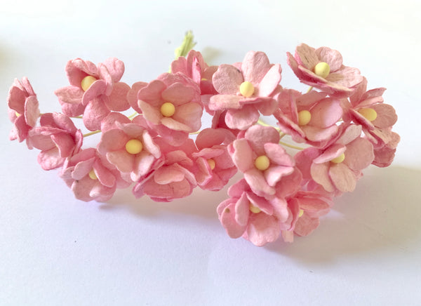 10 Pcs Mulberry Paper Flowers  1-2cm Cherry Blossoms - Candy Pink