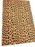 Tan Leopard Faux Leather Fabric