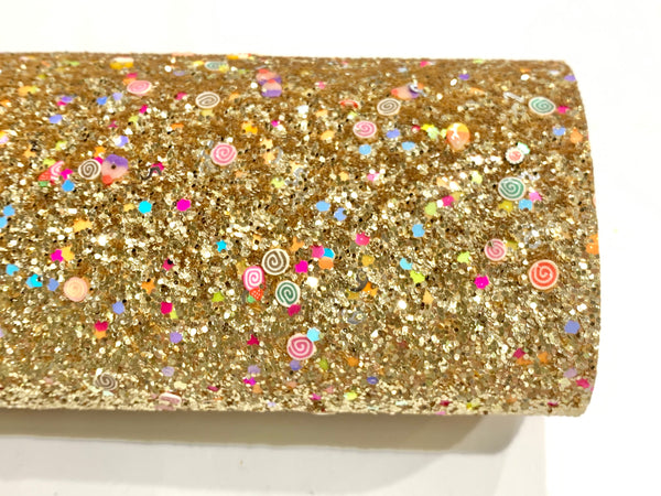 Golden Fruit Candy Chunky Glitter Fabric Sheet