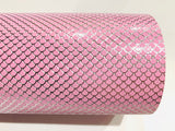 Pink Silver Mermaid Fish Scales Leatherette Fabric Sheet