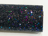 Black Multicolour Chunky Glitter Fabric Black