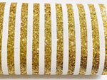 Gold & White Stripe Glitter Fabric 0.9mm A4 Sheets