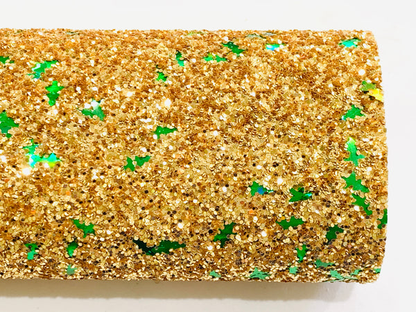 Gold Christmas Tree Chunky Glitter Fabric Sheet
