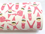 Pink Elf on the Shelf Faux Leatherette Fabric Sheet