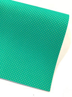 Jade Green with Fine Gold Embossed Dots Faux Leatherette