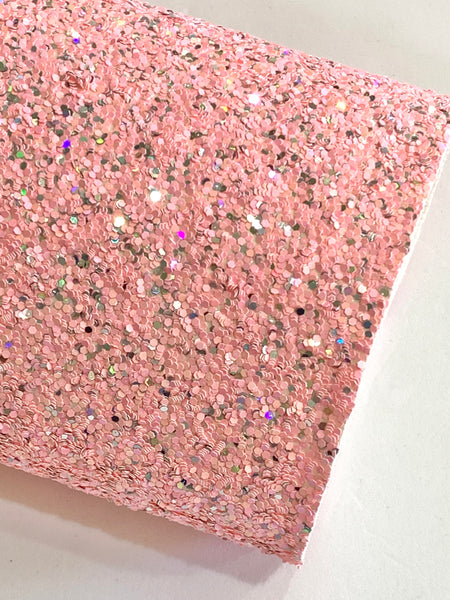 Peach Pink and Silver Mixed Chunky Glitter Fabric Sheet