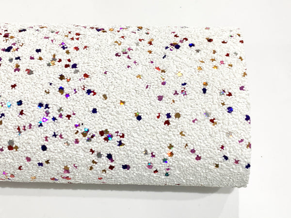 White Rainbow Glitter Fabric Sheet