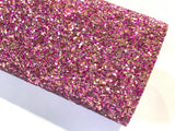 Gold and Magenta Mixed Chunky Glitter Fabric Sheets