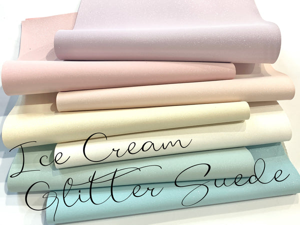 Ice Creams Glitter Faux Suede Fabric Sheets - 7 Yummy colours to choose from