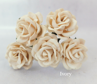 5pcs Ivory  - Mulberry Paper Roses - 35mm 3.5cm