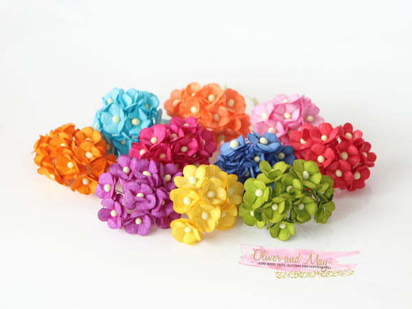 Bulk 100 Pack - Mulberry Paper Flowers - 1-2cm Cherry Blossoms - Bright Rainbow Shades