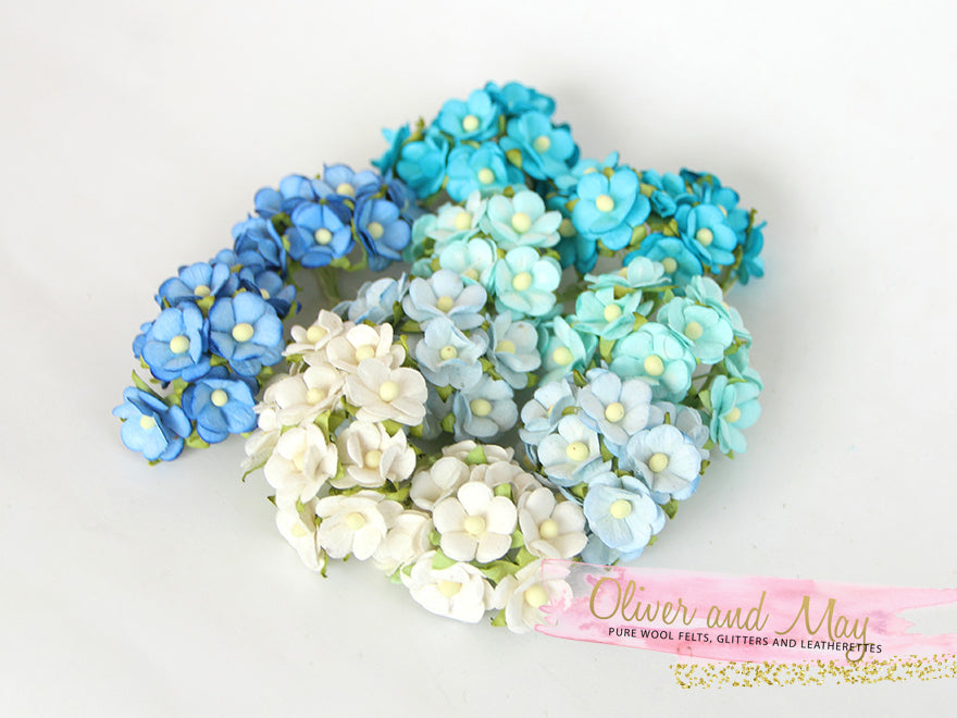 Bulk 100 Pack - Mulberry Paper Flowers - 1-2cm Cherry Blossoms - Shades of Blue