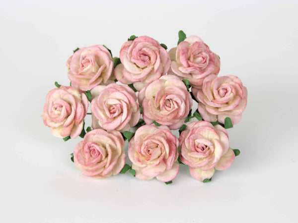 10 Pcs - Mulberry Paper Flowers - 2cm Rounded Petal Roses - Berries and Cream